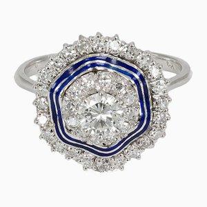 Vintage Ring aus Weißgold mit Diamanten, 1940er