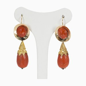Antique Gold and Coral Earrings, 1800s