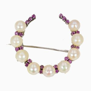 Vintage White Gold Brooch with Pearls and Rubies, 1950s