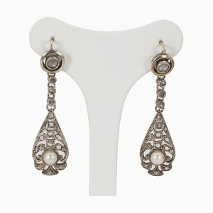 Liberty Earrings in Gold and Silver with Diamond and Pearl Rosettes