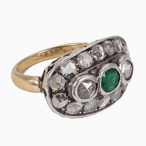 Antique Gold and Silver Ring with Diamond and Emerald Rosettes, 1900s