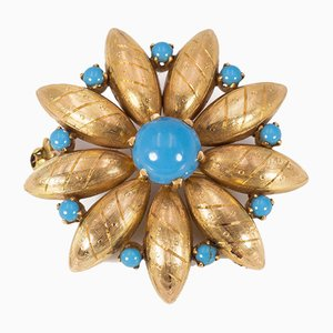 Vintage Brooch in 18k Gold with Turquoise, 1940s