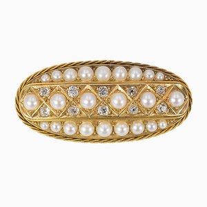 Antike goldene Brosche mit geschliffenen Diamanten und Perlen, 1900er