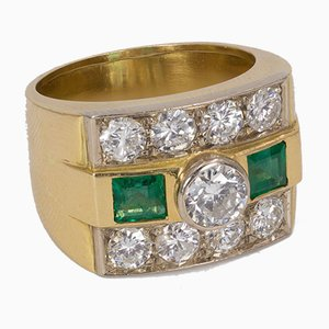 Vintage 18k Gold Ring with Cut Diamonds and Emeralds, 1960s