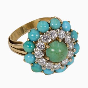 Vintage 18k Gold Ring with Cut Diamonds and Turquoise, 1960s