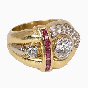 Anillo vintage de oro de 18 quilates con diamantes y rubíes, años 70