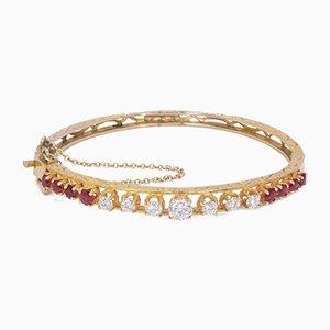 Vintage Goldarmband mit Diamanten & Rubinen, 1950er