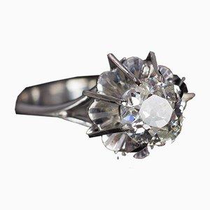 Antiker 18 Karat Weißgold Solitaire Ring mit Geschliffenem Diamanten, 1940er