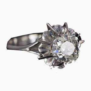 Antique 18k White Gold Solitaire Ring with Cut Diamond, 1940s
