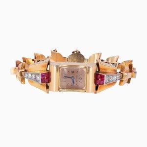 Lady Armbanduhr aus 18 Karat Gold mit Diamanten & Rubinen von Jaeger, 1930er