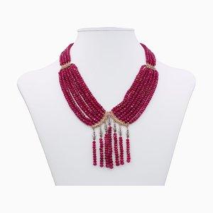 Rubinfarbene Halskette mit Diamanten in Gold und Rosette-Schliff