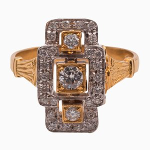 Goldener Vintage Ring mit geschliffenen Diamanten, 1950er
