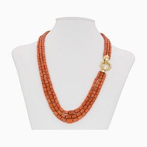 Vintage Coral Barrel Necklace in 18k Gold, 1950s