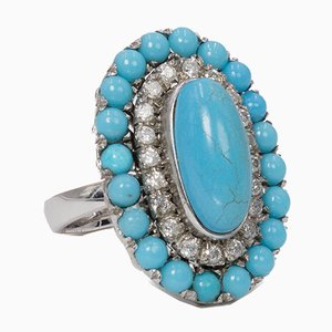 18k White Gold Ring with Turquoise and Diamonds, 1960s