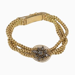 Antique 18k Gold Bracelet with Diamond Rosettes, 1800s