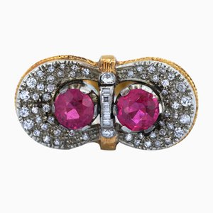 Vintage Ring aus 18 Karat Gold mit Rubinen & Diamanten, 1940er