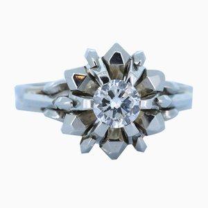 Vintage 18k Ring in Weißgold mit geschliffenem Diamanten, 1950er