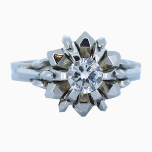 Vintage 18k White Gold Ring with Cut Diamond, 1950s