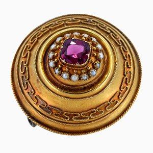 Antike 14 Karat Gold Brosche mit Lila Turmalin