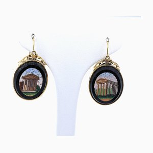 Antique Earrings and Brooch in 12k Gold with Onyx, 1800s