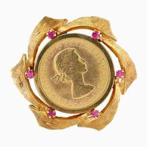 Vintage 18 Karat Gold Brosche mit 24 Karat Gold Britischen Pfund und Rubinen, 1960er