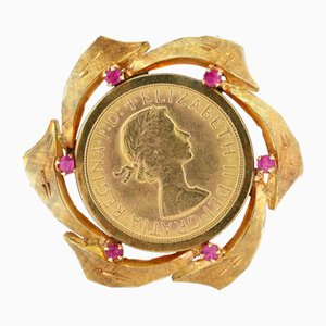Vintage 18k Gold Brooch with 24k Gold British Pound and Rubies, 1960s