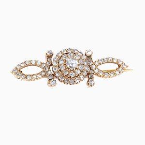 Broche en Or 18 Carats avec Rosaces Diamant, 1950s
