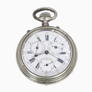Reloj de bolsillo antiguo de metal, década de 1800