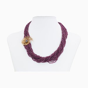 Vintage 18k Gold Garnet Necklace with Sapphire and Diamonds, 1950s