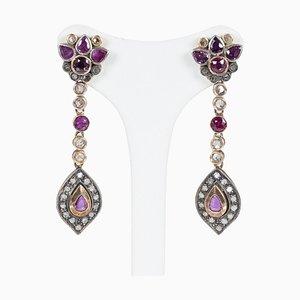 Boucles d'Oreilles Style Or Antique 14k avec Rubies et Diamants en Diamant