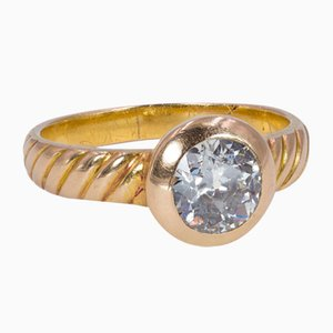 Vintage 18k Gold Ring with Cut Diamond, 1970s
