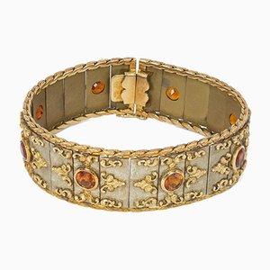 Vintage 18k Gold Bracelet with Citrine Quartz, 1950s