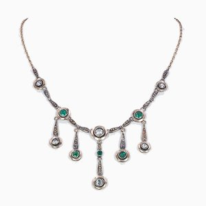 Liberty Necklace in 14k Gold and Silver with Diamonds and Emeralds, 1920s