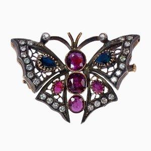 Broche Papillon Vintage en Or 18k et Argent avec Diamants, Saphirs et Rubis, 1950s