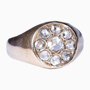 Antiker Chevalier Ring aus 18 Karat Gold mit rosa Diamanten im Coroné-Schliff, 1930er