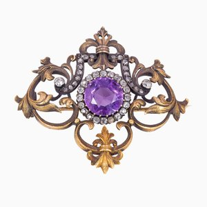 Antique Russian Brooch in 18k Gold with Diamonds and Amethyst, 1900s