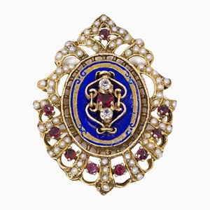 Vintage Brooch in 18k Gold with Enamels, Glass, and Beads, 1950s