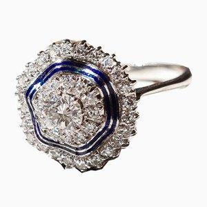 Antiker 18k Ring aus Weißgold mit Diamanten und blauem Emaille, 1940er