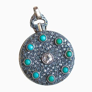 Antique Photo Pendant in 18k Gold and Silver with Turquoise and Diamonds, 1940s