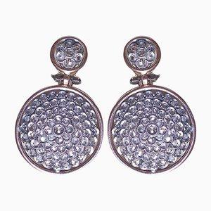 Vintage 18k Gold Pendant Earrings with Diamond Rosettes, 1950s, Set of 2