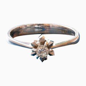 Vintage 18 Karat Weißgold Solitaire Ring mit Geschliffenem Diamanten, 1950er