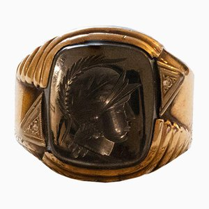 Antique 10k Gold Men's Ring with Engraved Hematite and Diamonds, 1940s