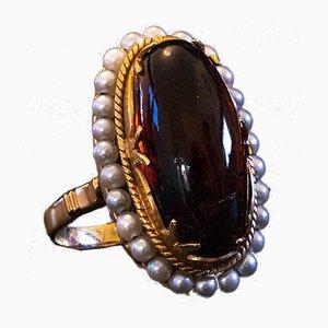 Vintage Ring aus 18 Karat Gold mit Bernstein und Perlen, 1950er