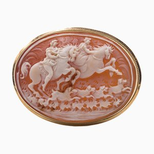 Broche o colgante vintage de oro de 18 quilates con camafeo, años 50