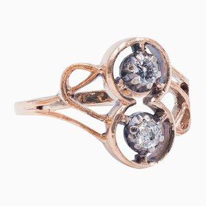 Jugendstil Ring in 14 Karat Gold mit Diamanten, 1920er