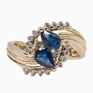 Vintage 14k Yellow Gold Ring with Drop Cut Sapphires and Diamonds, 1970s