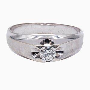 Vintage Men's Ring in 18k White Gold with Diamond, 1960s