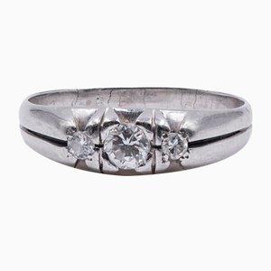 Vintage Ring in Weißgold mit Diamanten, 1960er