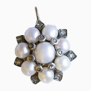 Lámpara colgante estilo vintage de oro de 14 k con perlas y diamantes