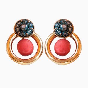 Vintage Earrings in 18k Gold and Silver with Coral and Diamonds, 1970s, Set of 2